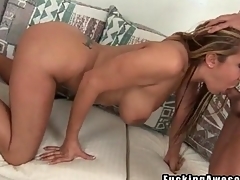 Pornstar Trina Michaels gives BJ to thick cock