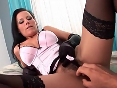Satin gloves and lingerie on hottie sucking dick