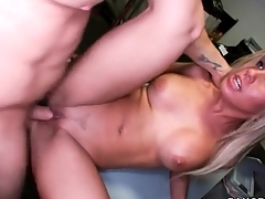 Round interior blonde sucks a dick in back office