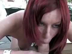 Redhead sucks off dick through a pizza nonplussed