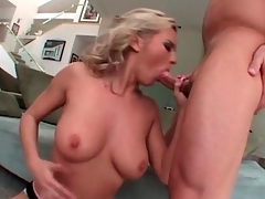 Bree Olson blowjob goes deep on his cock