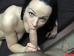 Lean body brunette nigh great tits sucks on dick