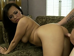 Sweet Asian babe banged hard and abysm by a huge cock in a video featuring Gia Grace