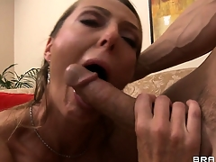 Horny bald guy tweaks my mother the fucker's nips and she sucks him off